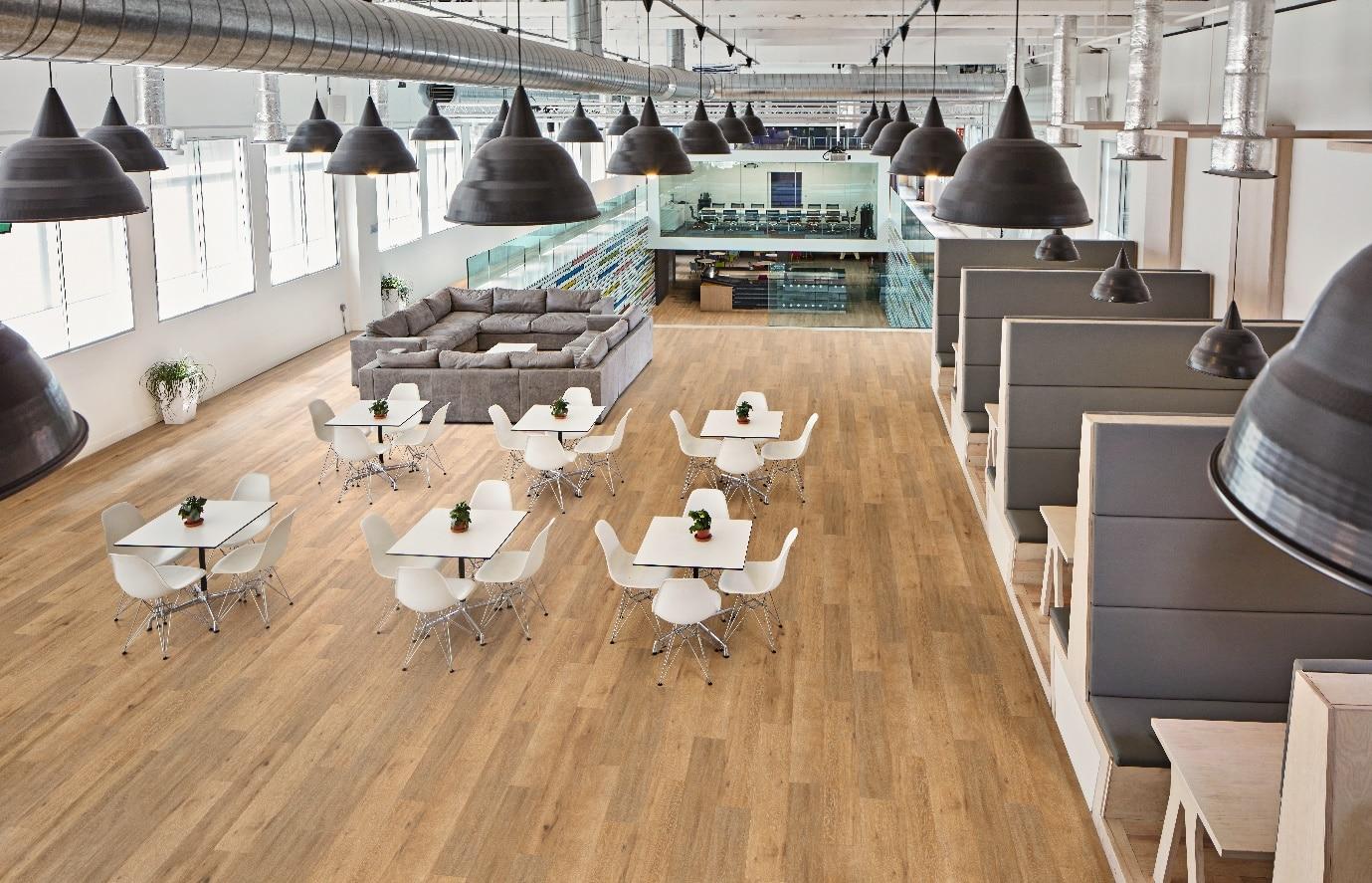 Acoustic flooring in large room