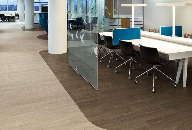 Acoustic flooring in desk area