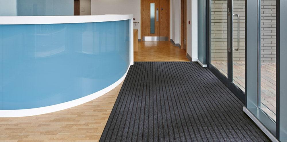 Entrance matting in reception area