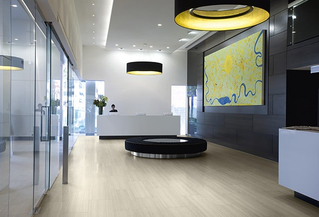 loose lay flooring in reception area