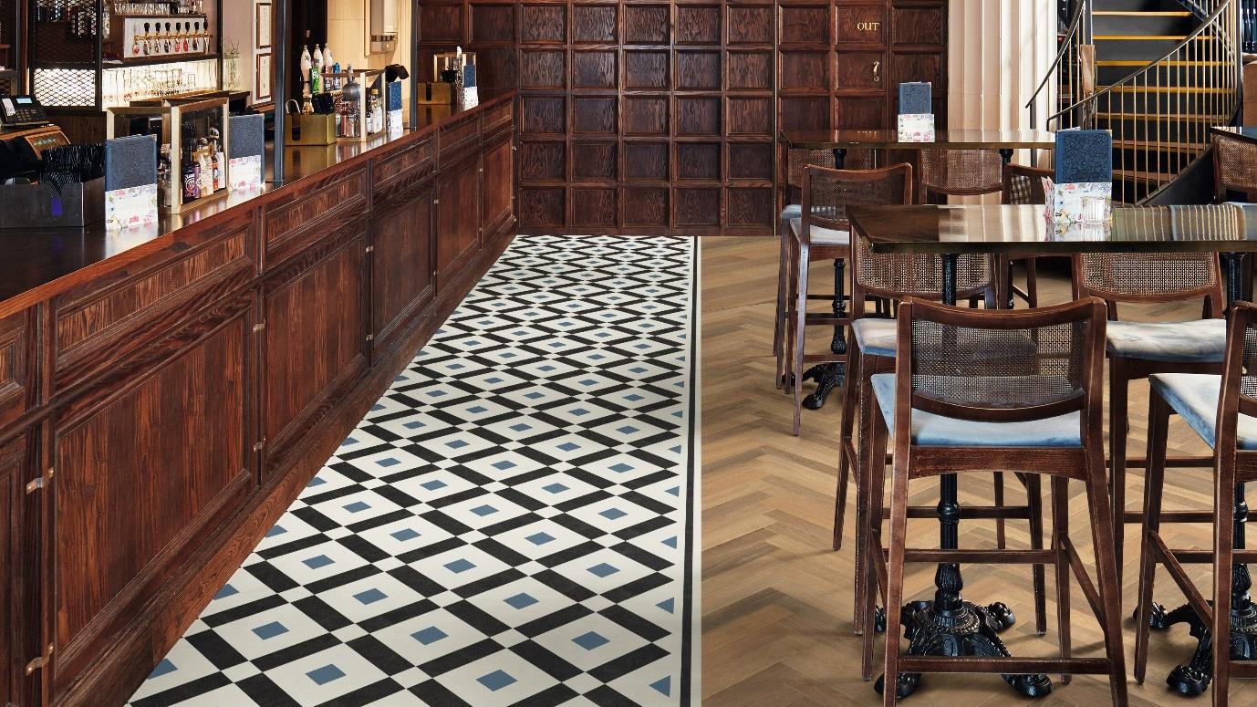 luxury vinyl tiles in bar