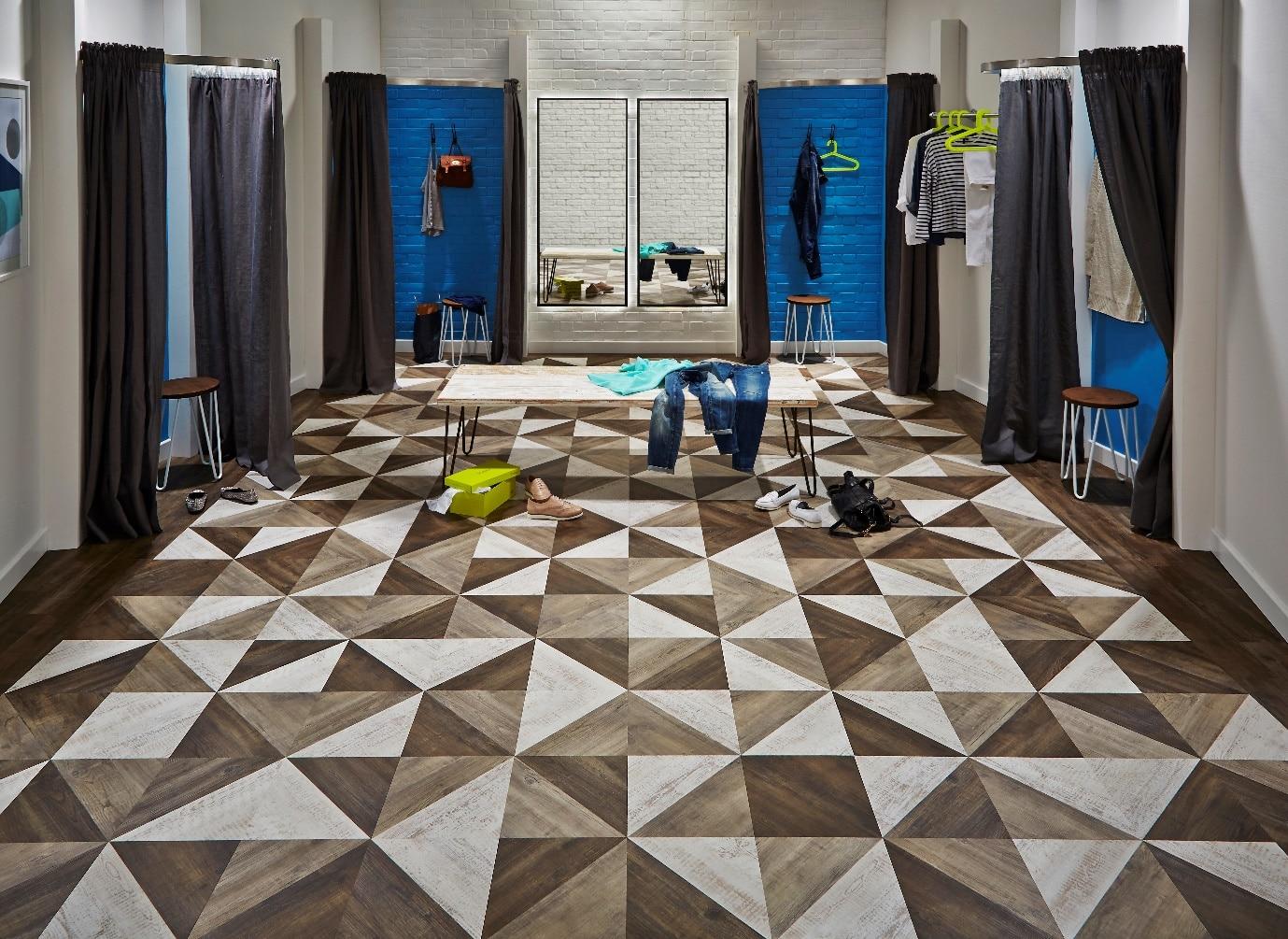 luxury vinyl tiles in changing rooms