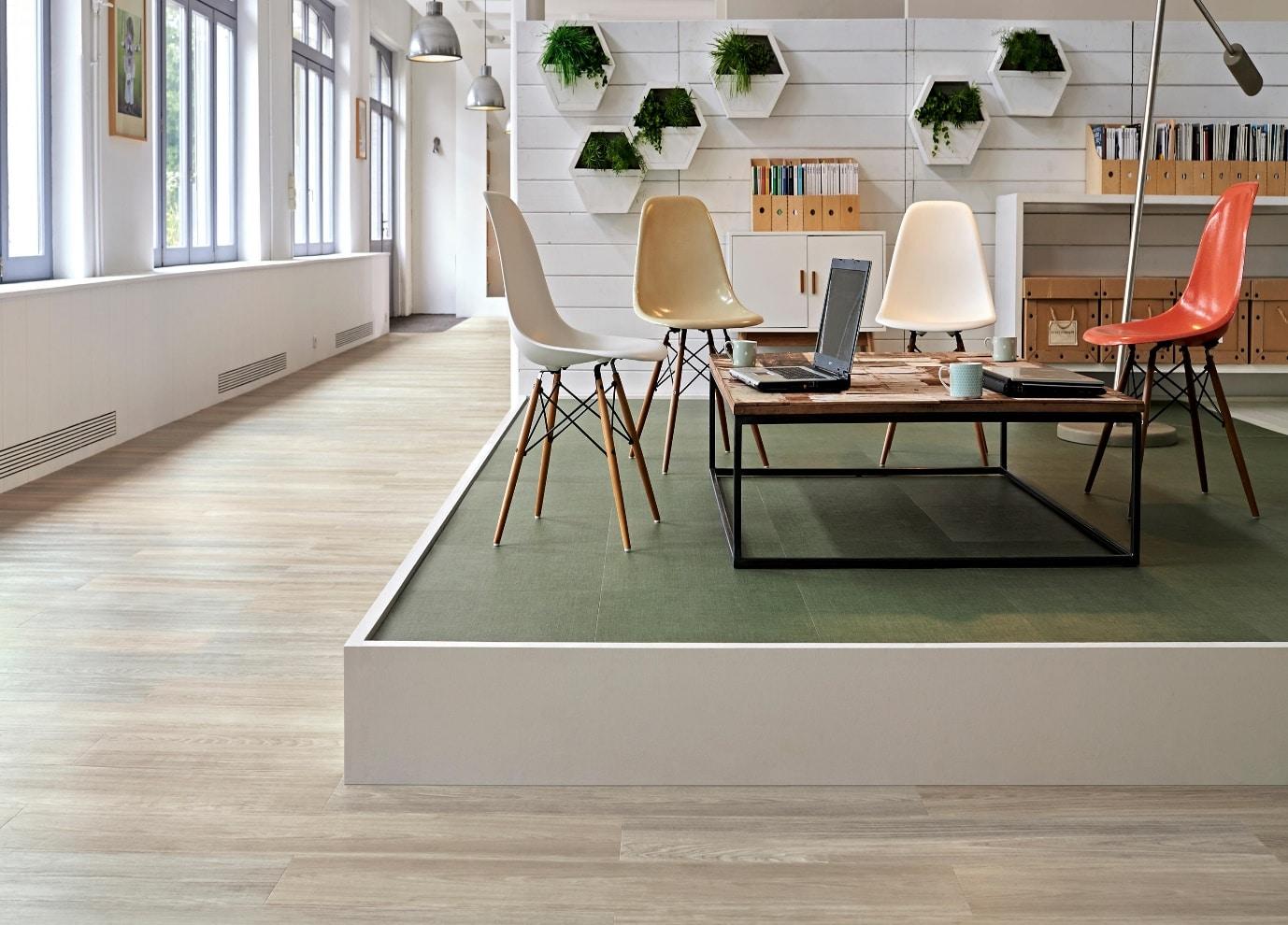 luxury vinyl tiles in workspace
