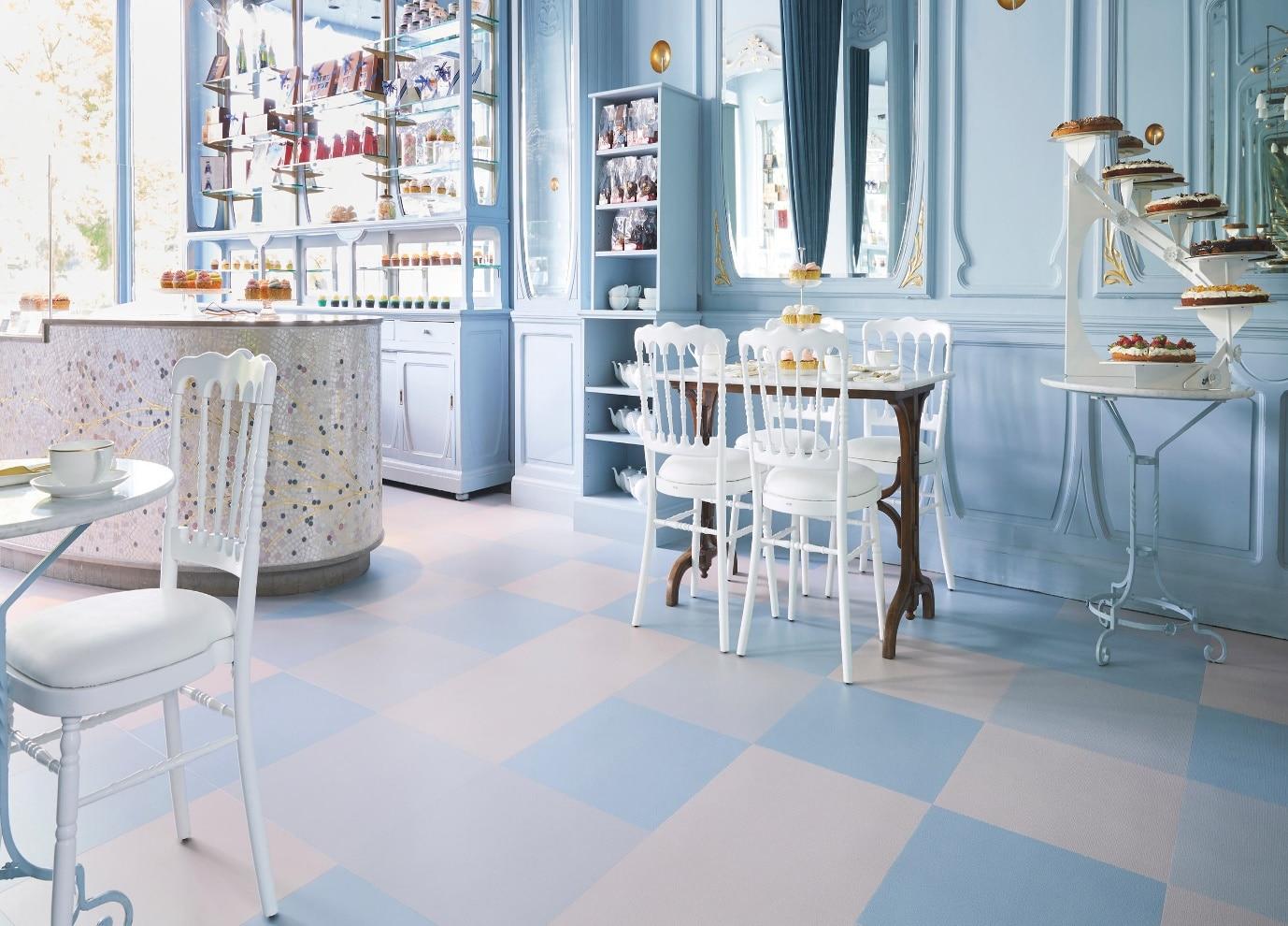 luxury vinyl tiles in cafe
