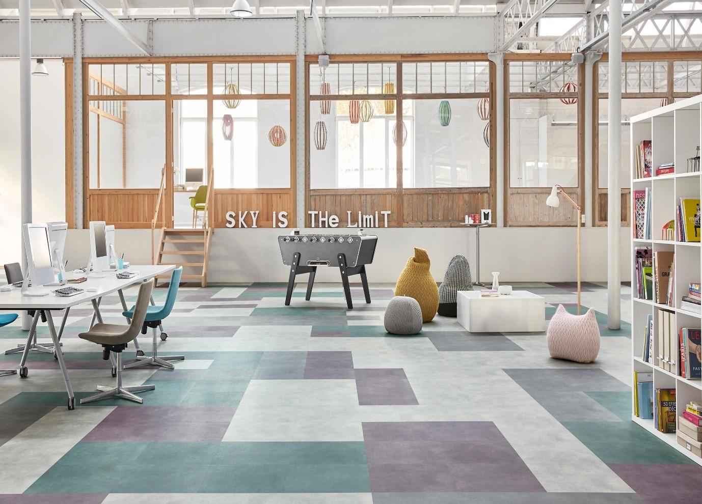 luxury vinyl tiles in work area